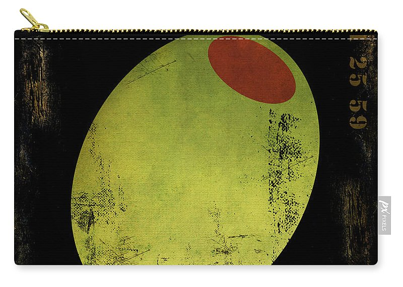 Martini Carry-all Pouch featuring the painting Martini Olive by Mindy Sommers