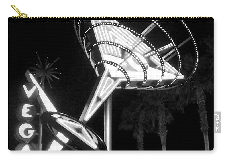 Martini Carry-all Pouch featuring the photograph Martini Sign In Vegas B-w by Anita Burgermeister