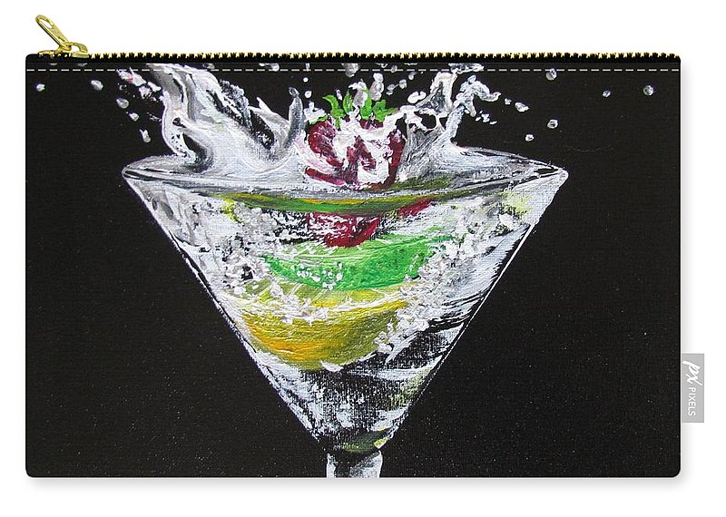 Martini Carry-all Pouch featuring the painting Martini Splash by Mandy Joy