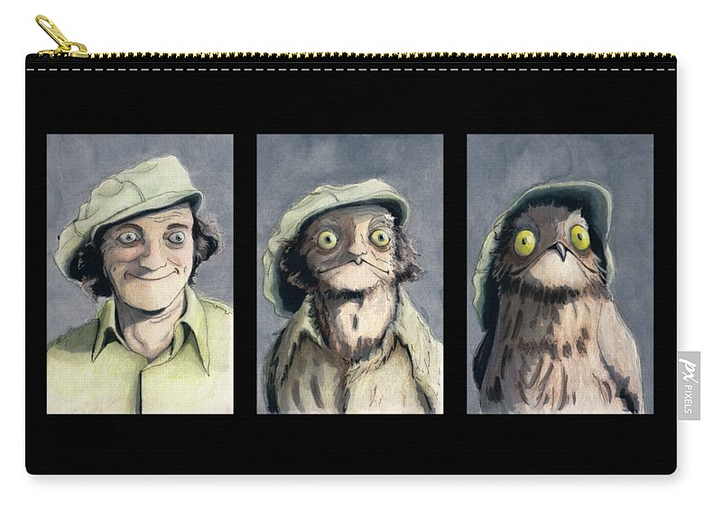 Carry-all Pouch featuring the mixed media Marty Morph by Kate McQueen