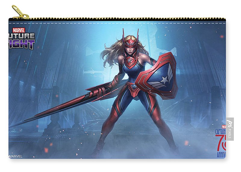 Marvel Future Fight Carry-all Pouch featuring the digital art Marvel Future Fight by Dorothy Binder