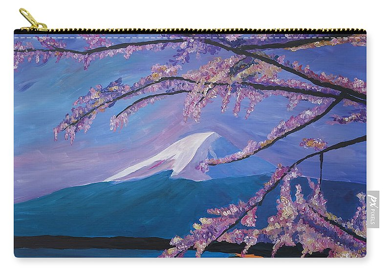 Mount Fuji Carry-all Pouch featuring the painting Marvellous Mount Fuji With Cherry Blossom In Japan by M Bleichner