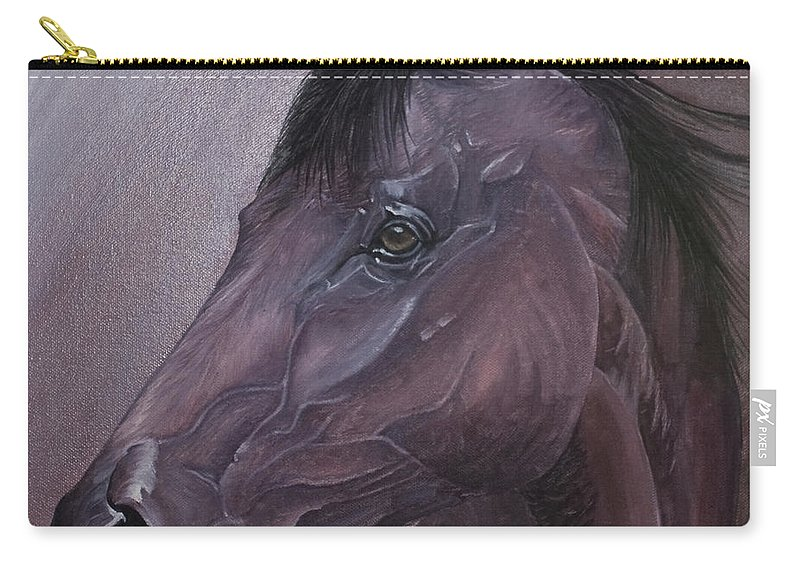 Horse Marwari Equine Purple Carry-all Pouch featuring the painting Marwari Purple by Pauline Sharp