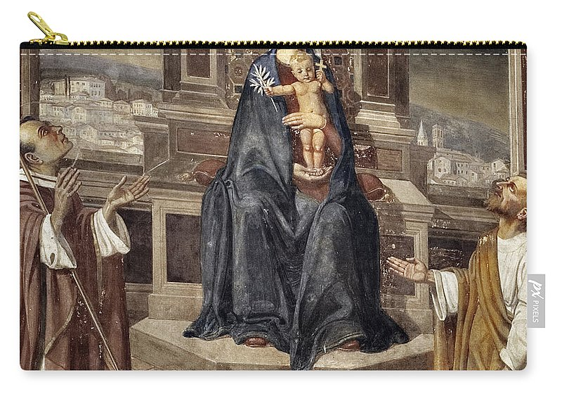 Italy Italian Mary Jesus Men Fresco Religious Religion Paint Painted Old Ancient Catholic Carry-all Pouch featuring the photograph Mary And Baby Jesus by Marilyn Hunt