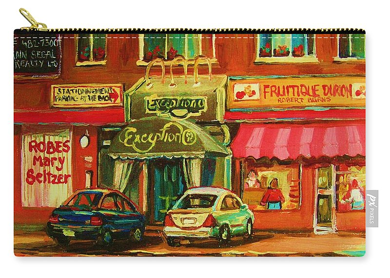 Mary Seltzer Dress Shop Carry-all Pouch featuring the painting Mary Seltzer Dress Shop by Carole Spandau
