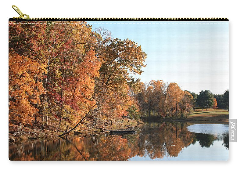 Maryland Carry-all Pouch featuring the photograph Maryland Autumns - Clopper Lake - Kingfisher Overlook by Ronald Reid
