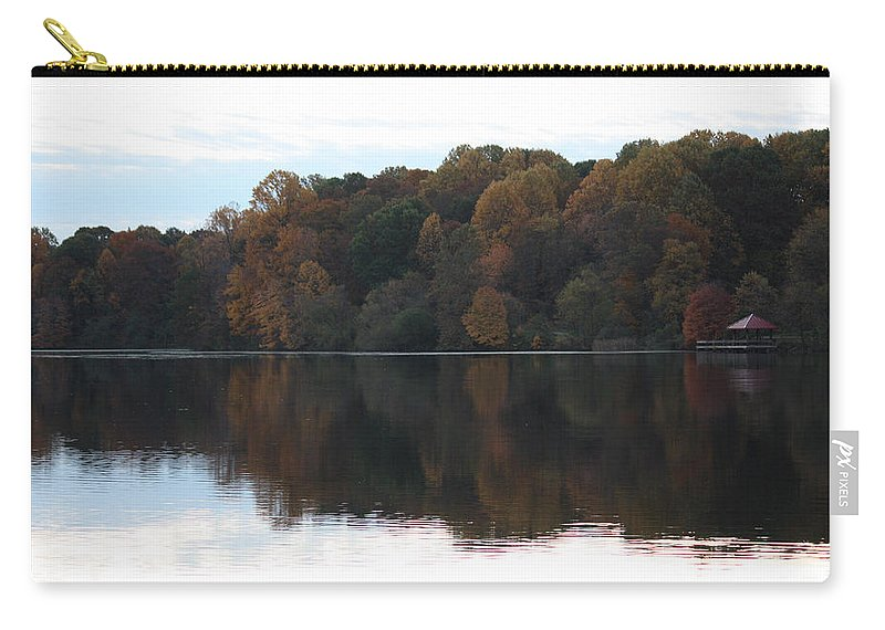 Maryland Carry-all Pouch featuring the photograph Maryland Autumns - Lake Elkhorn - Red Roof by Ronald Reid