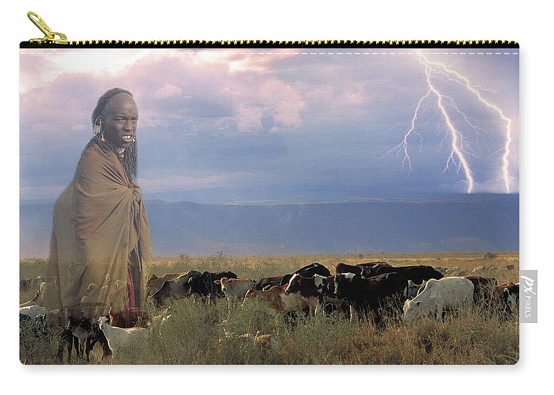 Cattle Carry-all Pouch featuring the photograph Masaii Cattle by Don Schimmel