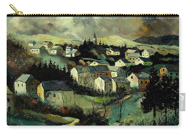 Winter Carry-all Pouch featuring the painting Masbourg by Pol Ledent