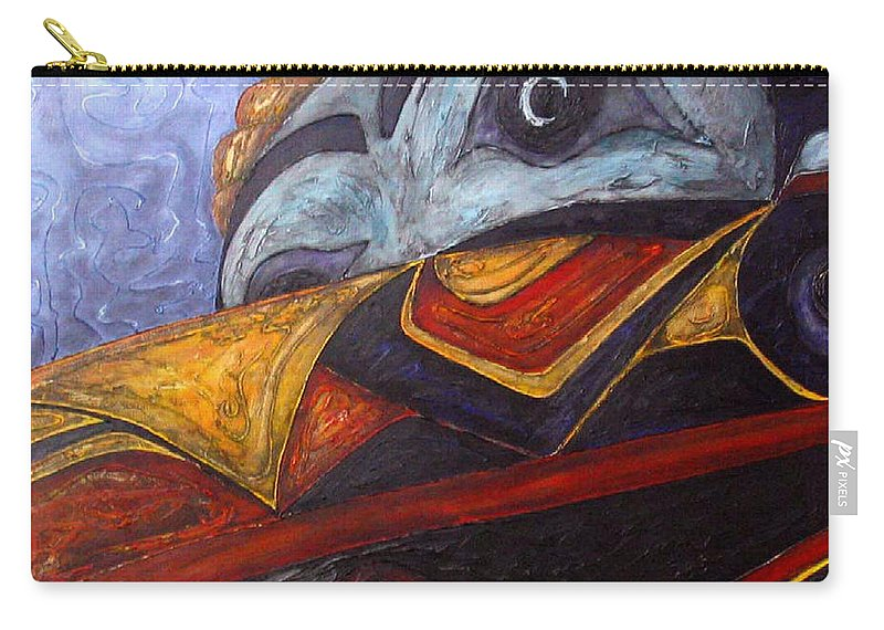 Raven Carry-all Pouch featuring the painting Mask Of The Raven by Elaine Booth-Kallweit