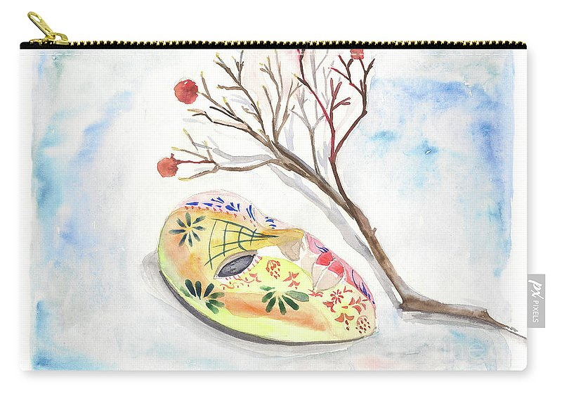 Mask Carry-all Pouch featuring the painting Mask by Yana Sadykova