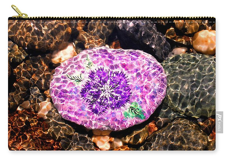 Carry-all Pouch featuring the photograph Mason's Purple Flower by Kathy Partak
