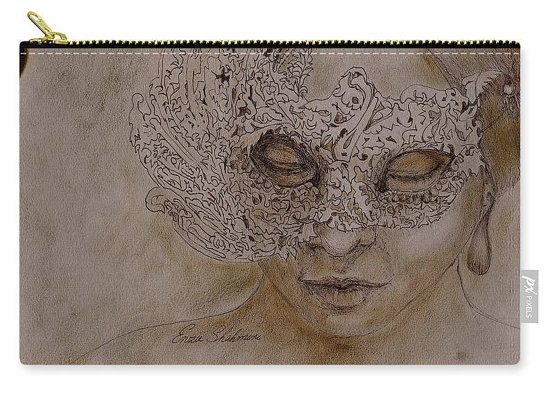 Mask Carry-all Pouch featuring the drawing Masquerade by Portraits By NC