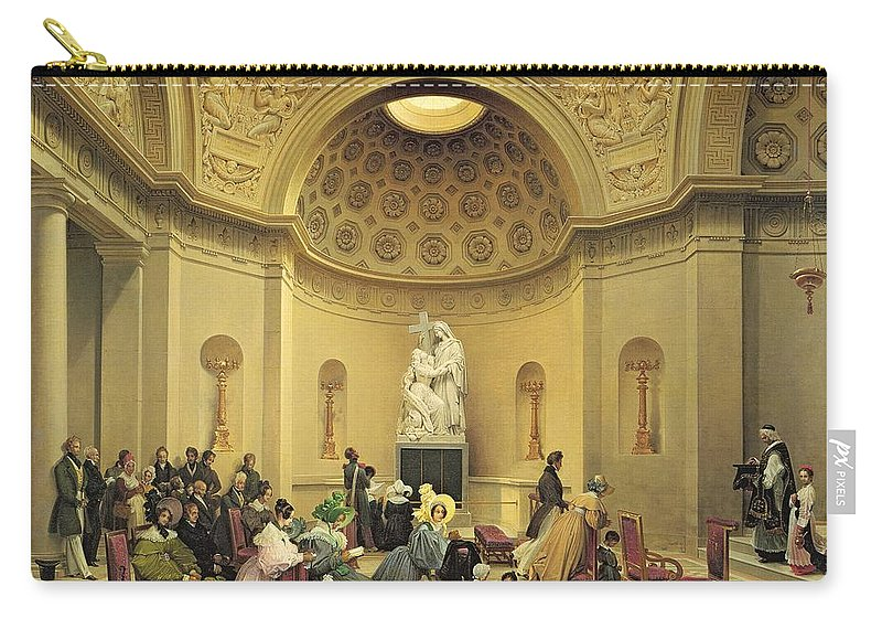 Mass Carry-all Pouch featuring the painting Mass In The Expiatory Chapel by Lancelot Theodore Turpin de Crisse