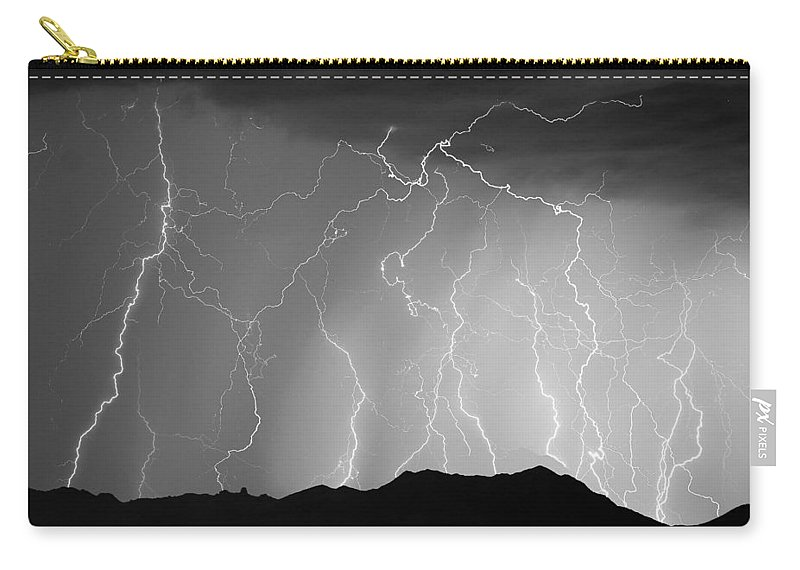 Lightning Carry-all Pouch featuring the photograph Massive Monsoon Lightning Storm Bw by James BO Insogna