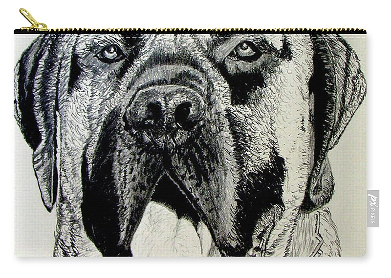 Mastiff Carry-all Pouch featuring the drawing Mastiff by Stan Hamilton