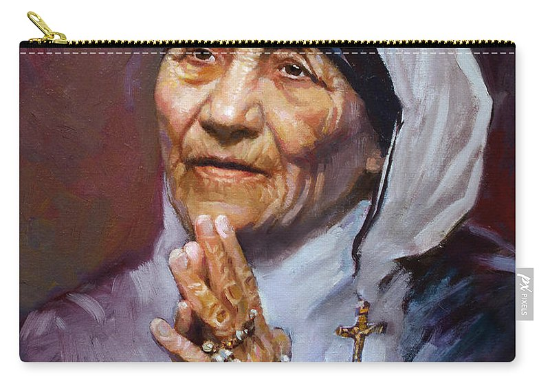 Mother Teresa Artwork Carry-all Pouch featuring the painting Mother Teresa by Ylli Haruni