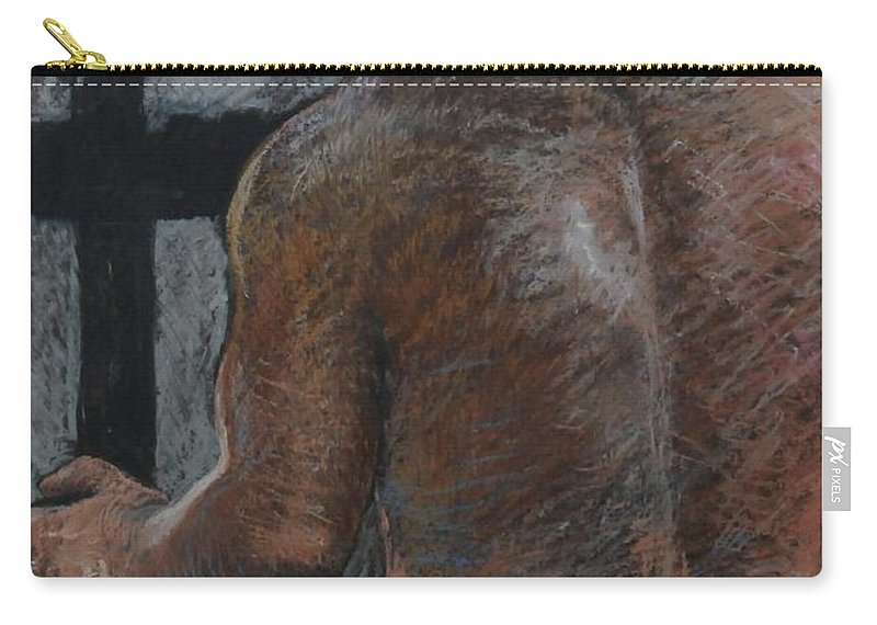 Male Carry-all Pouch featuring the drawing Mathew's Back. by Harry Robertson