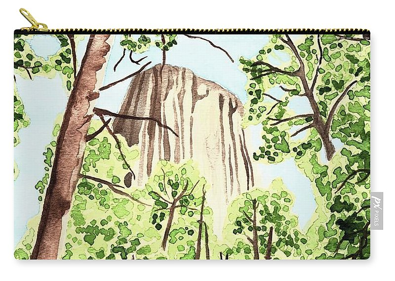 Devils Tower Carry-all Pouch featuring the painting Mato Tipila by Anastasia Bisel