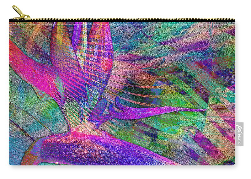 Maui Carry-all Pouch featuring the digital art Maui Bird Of Paradise by Barbara Berney