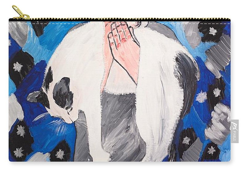 Portrait Carry-all Pouch featuring the painting Max Holding Snowflake by Valerie Ornstein