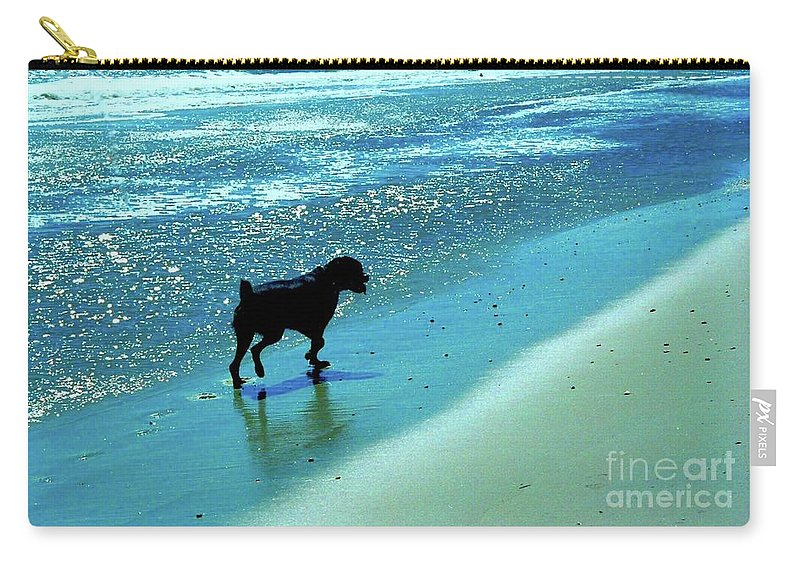 Rottweiler / Beach / Waterscape Carry-all Pouch featuring the photograph Maxwell On The Beach by Gregory E Dean