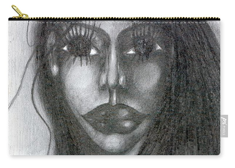 Psychedelic Carry-all Pouch featuring the drawing Maya by Wojtek Kowalski