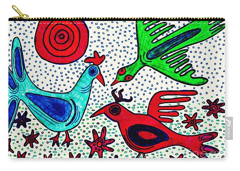 Bird Carry-all Pouch featuring the drawing Mayan Birds by Sarah Loft