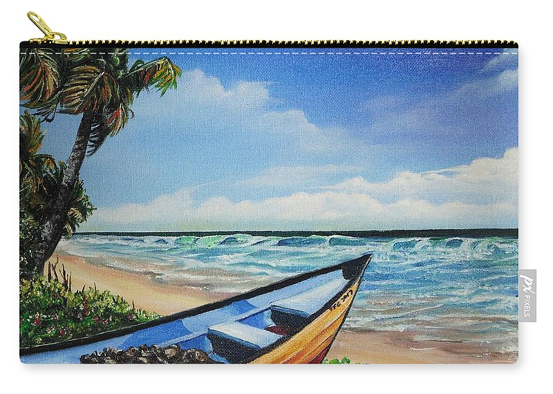 Trinidad And Tobago Beach Carry-all Pouch featuring the painting Mayaro Beach by Karin Dawn Kelshall- Best