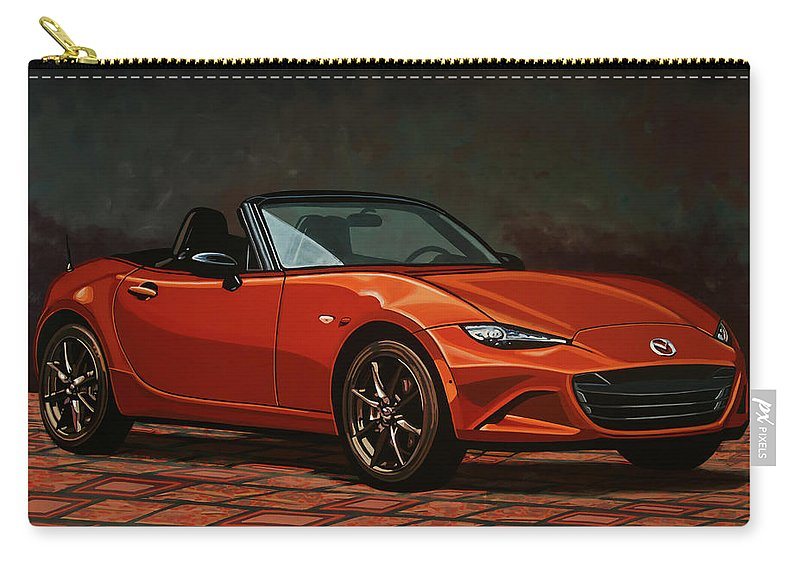 Mazda Mx-5 Miata Carry-all Pouch featuring the painting Mazda Mx-5 Miata 2015 Painting by Paul Meijering