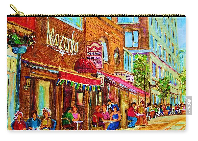 Montreal Streetscene Carry-all Pouch featuring the painting Mazurka Cafe by Carole Spandau