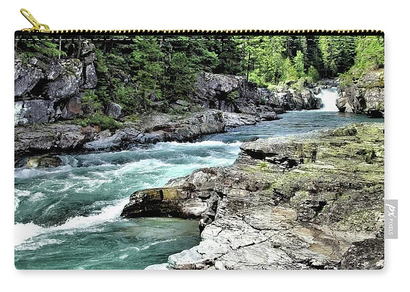 Water Carry-all Pouch featuring the photograph Mcdonald Creek 2 by John Trommer