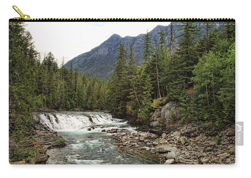 Glacier National Park River Stream Creek Water Waterfall Nature Natural Mountain Carry-all Pouch featuring the photograph Mcdonald Falls - Glacier by Shari Jardina