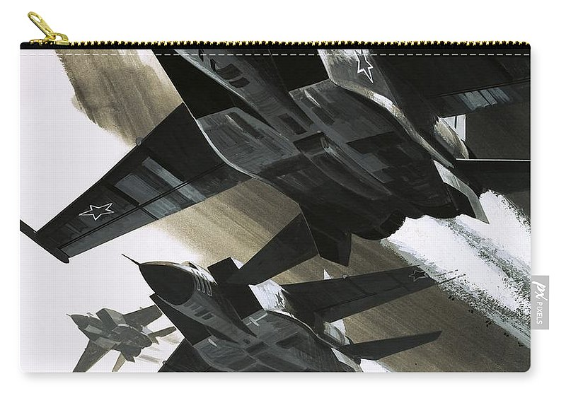 Douglas Carry-all Pouch featuring the painting Mcdonnell Douglas F15 Eagle Jet Fighter by Wilf Hardy