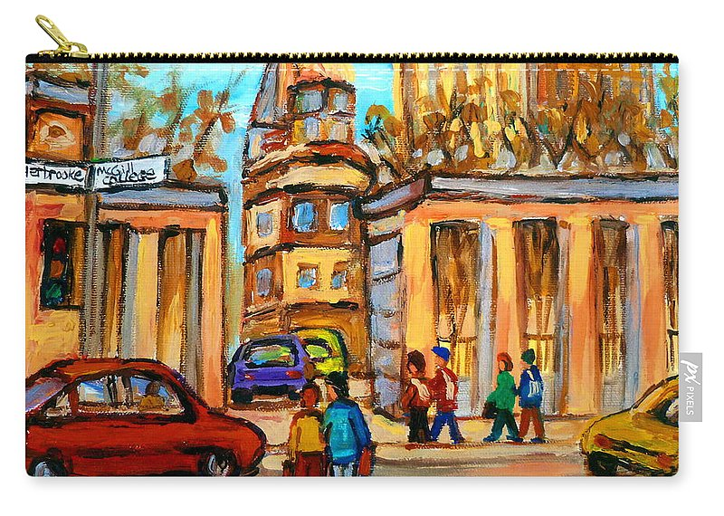 Montreal Cityscapes Carry-all Pouch featuring the painting Mcgill Roddick Gates by Carole Spandau