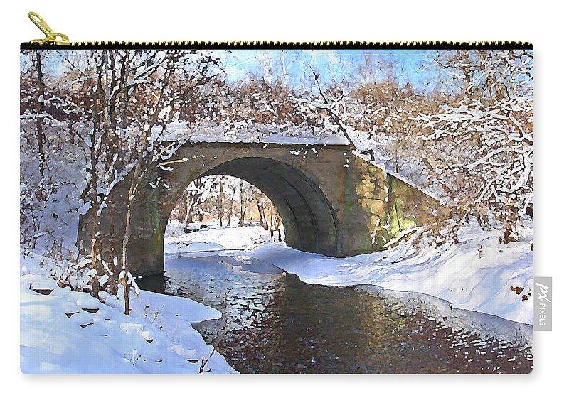 Landscape Carry-all Pouch featuring the digital art Mcgowan Bridge by Steve Karol