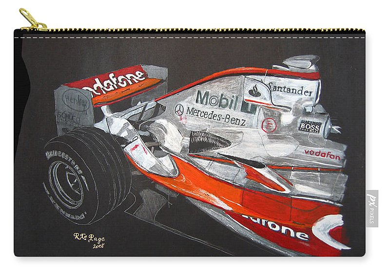 Mclaren Carry-all Pouch featuring the painting Mclaren F1 Alonso by Richard Le Page