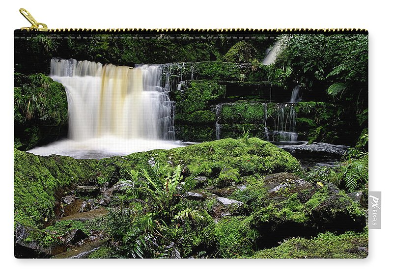 Water Carry-all Pouch featuring the digital art Mclean Falls In Southland New Zealand by Mark Duffy
