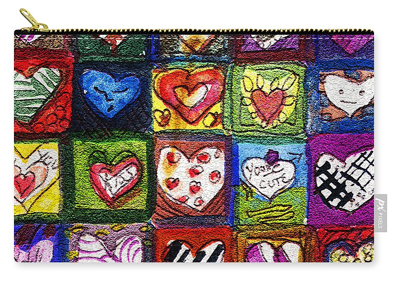 Hearts Carry-all Pouch featuring the painting Me Luv by Mindy Newman