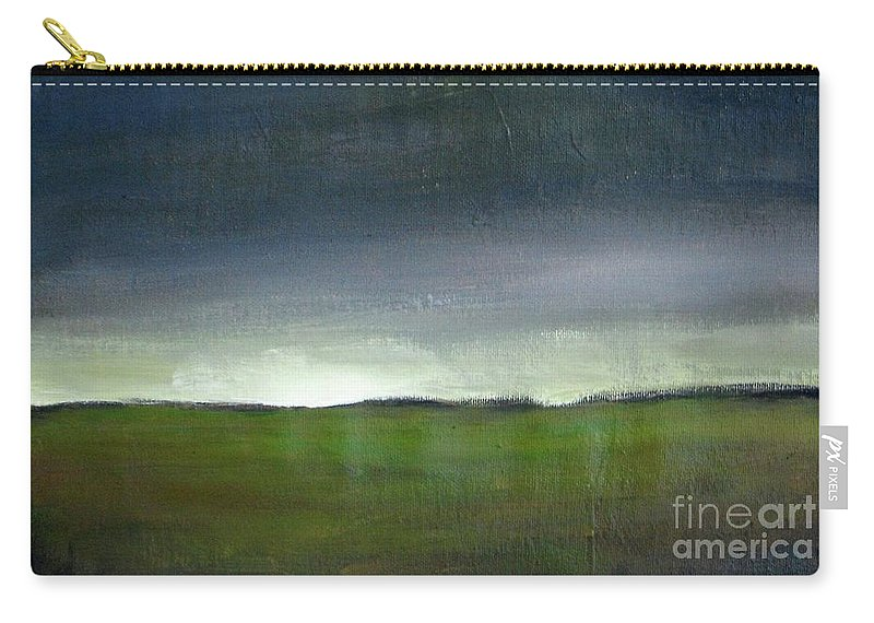 Landscape Carry-all Pouch featuring the painting Meadow At Sunset by Vesna Antic