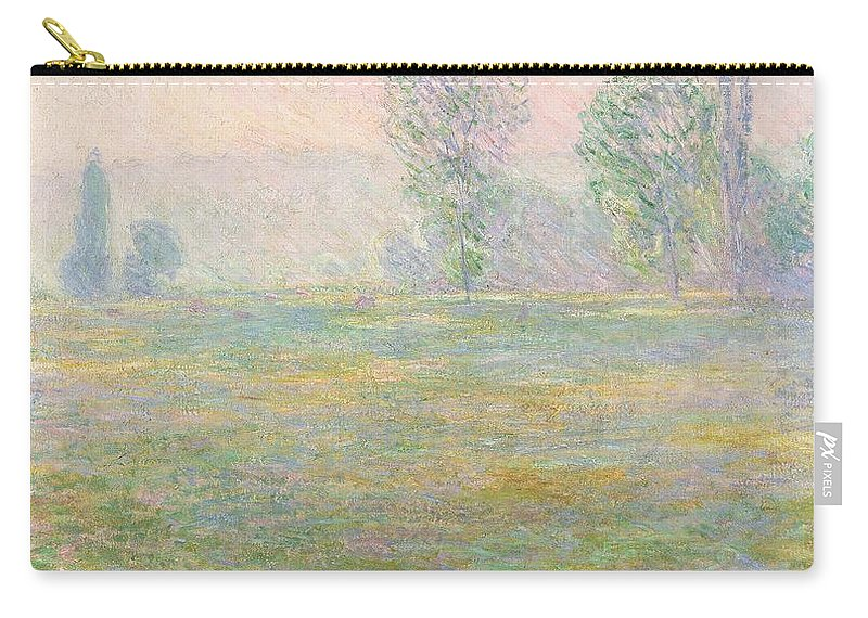 Meadows In Giverny Carry-all Pouch featuring the painting Meadows In Giverny by Claude Monet