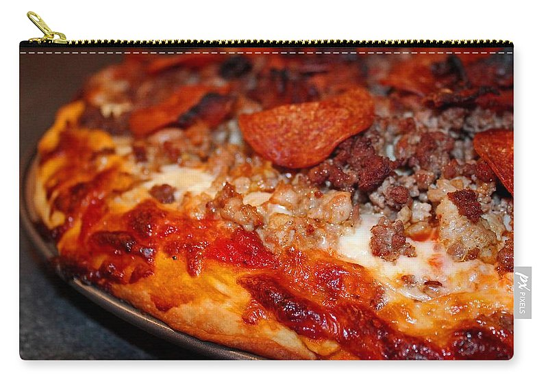 Pizza Carry-all Pouch featuring the photograph Meat Monster Pizza by Michiale Schneider