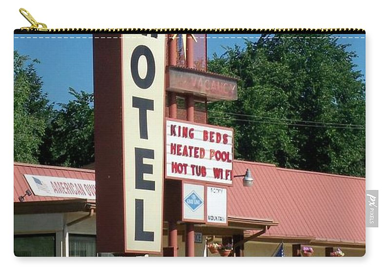 Vintage Motel Signs Carry-all Pouch featuring the photograph Mecca Motel by Anita Burgermeister