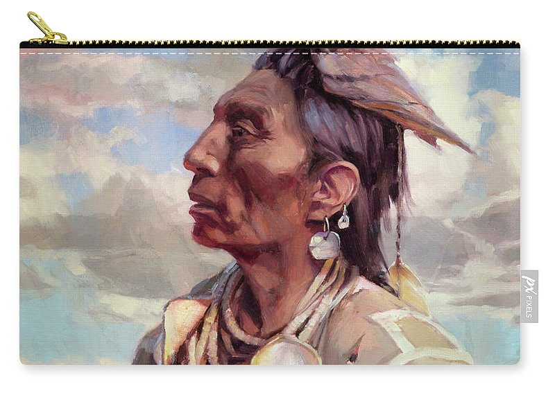 Native American Carry-all Pouch featuring the painting Medicine Crow by Steve Henderson