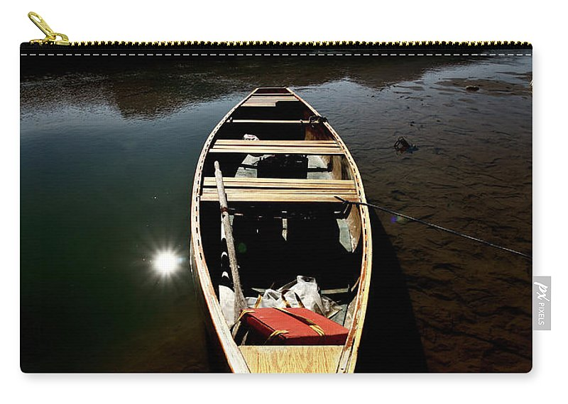 Medicine Lake Carry-all Pouch featuring the digital art Medicine Lake In Jasper National Park by Mark Duffy