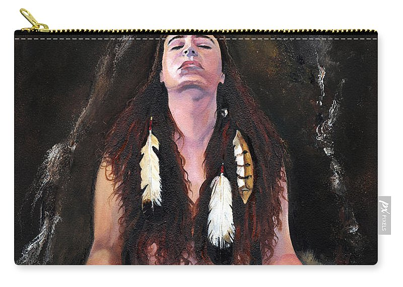 Southwest Art Carry-all Pouch featuring the painting Medicine Woman by J W Baker