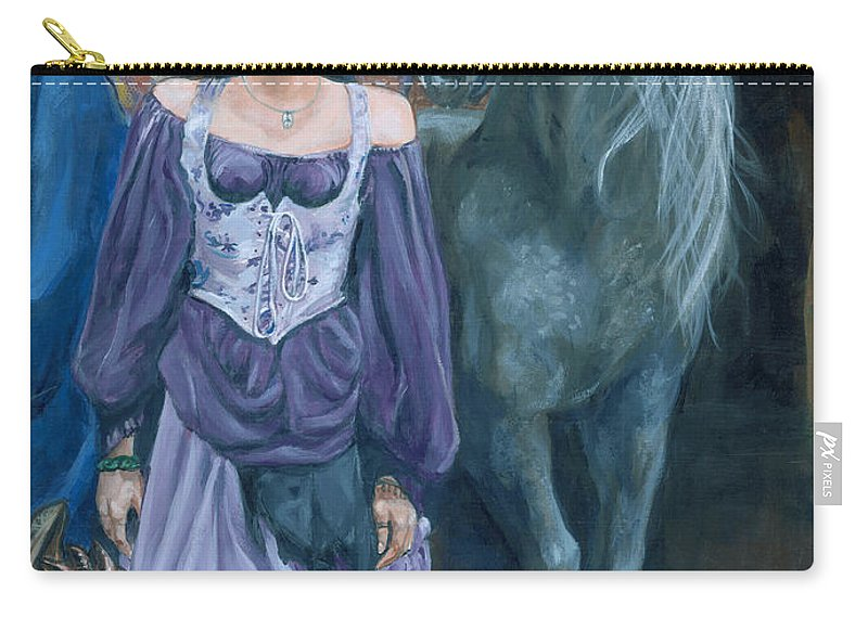 Fairy Faerie Unicorn Dragon Renaissance Festival Carry-all Pouch featuring the painting Medieval Fantasy by Bryan Bustard