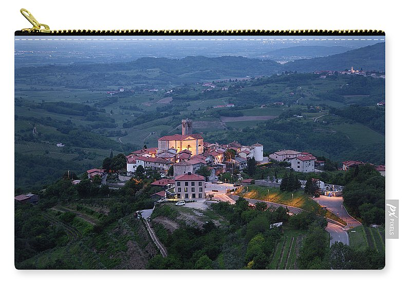 Smartno Carry-all Pouch featuring the photograph Medieval Hilltop Village Of Smartno Brda Slovenia At Dawn In The by Reimar Gaertner