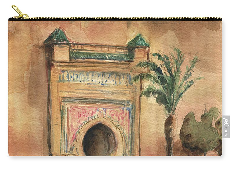 Morocco Art Carry-all Pouch featuring the painting Medina Morocco, by Juan Bosco