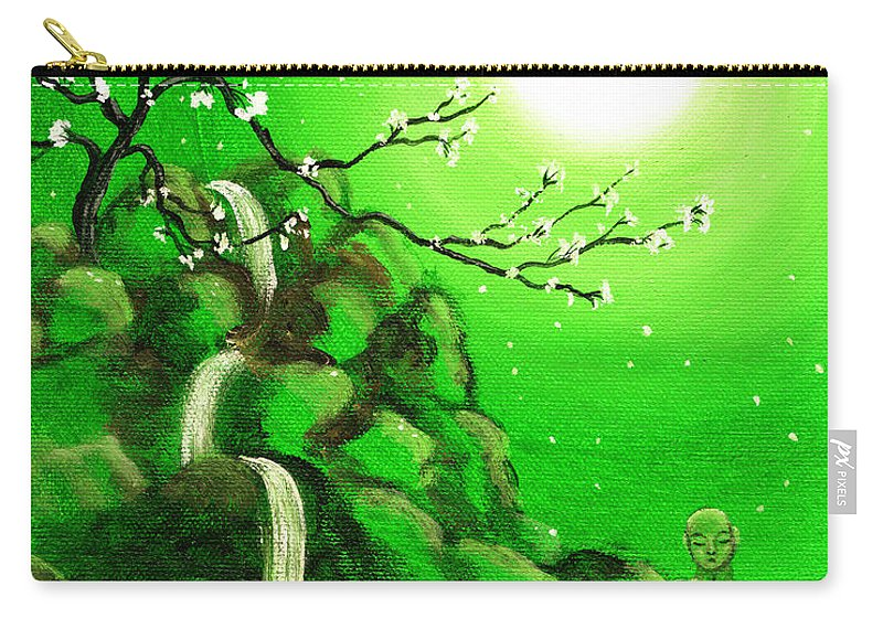 Landscape Carry-all Pouch featuring the painting Meditating While Cherry Blossoms Fall In Green by Laura Iverson